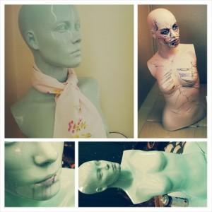 mannequin, dumpster dive, repurpose, DIY, recycling, spray paint