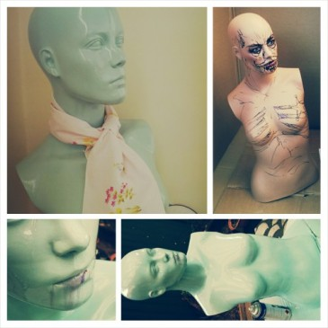 mannequin, dumpster dive, repurpose, DIY, recycling, spray paint