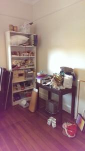 craft room, fabric, stash, unorganized
